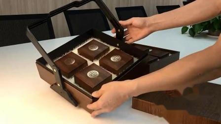 蛋糕网版印刷。酥皮手提月饼包装盒商务流心6个一箱精緻豆沙现货客户