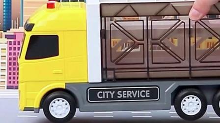大号货柜车儿童玩具车工程车警车套装挖土机收纳合金汽车模型男孩