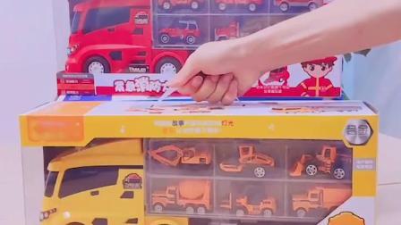 大号货柜车消防车玩具车工程车套装挖土机合金小汽车模型儿童男孩