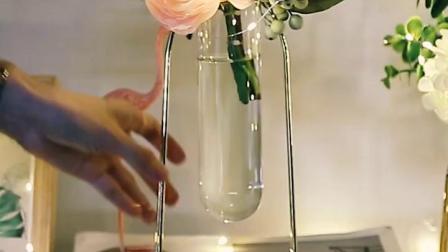 北欧ins风金色铁艺水培试管花瓶 创意个性家居客厅桌面装饰小摆件