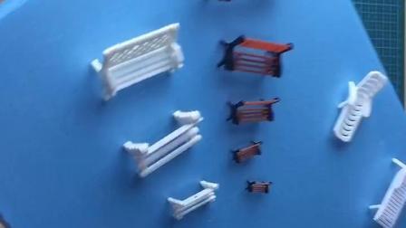 沙盘模型建筑模型模型材料耗材彩色公园椅休闲椅白色长廊椅花园椅