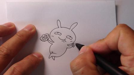 中秋节简笔画.月亮上吃月饼的兔子