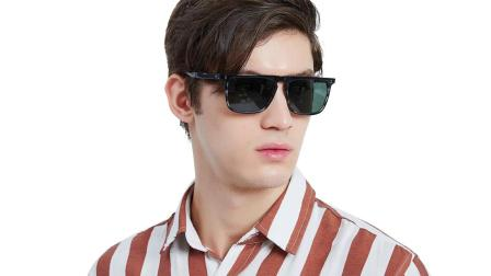 偏光太阳镜男玻璃镜片 开车复古潮人太阳眼镜男士方形大脸可配近视镜