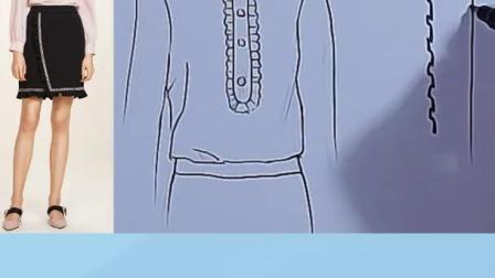 服装设计手绘教程 褶皱领子画法  服装设计人体图