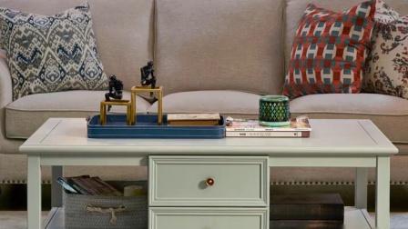 美式茶几乡村复古全实木客厅长方形地柜组装白蜡木家俱储物柜子