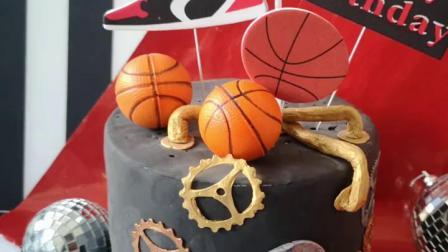 烘焙蛋糕装饰酷炫红黑篮球鞋男生篮球运动潮流运动鞋生日插牌摆件