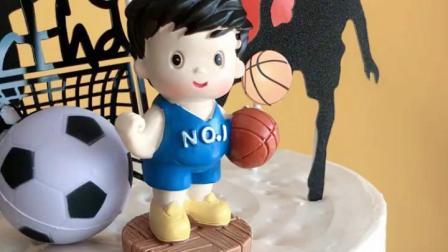 烘焙蛋糕装饰篮球足球运动员玩偶摆件夏日动感男孩生日插牌插件