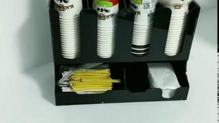 压克力外带奶茶杯架收纳层架一次性纸杯子架取杯器塑料杯架吸管盒