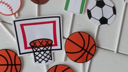 父亲节创意足球篮球棒球蛋糕装饰插牌 烘焙甜品布置卡纸插旗插件