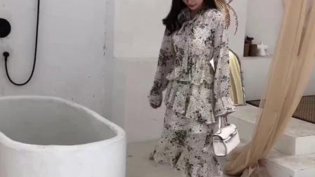 高端荷叶边雪纺洋装2019新款网红初秋女装收腰显瘦气质蛋糕裙子