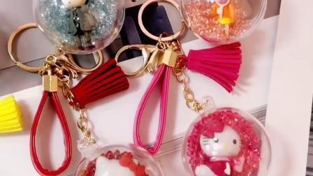 韩国创意可爱塑料綵球情侣钥匙扣时尚男士女款可爱包包挂件小礼品