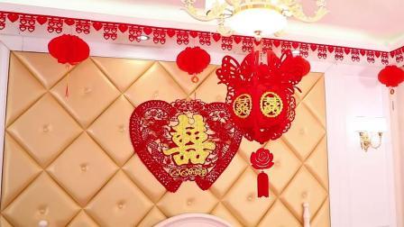 思泽 婚房布置套装结婚喜字拉花不织布花球灯笼套餐婚庆用品装饰