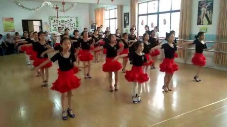 儿童拉丁舞裙女童舞蹈服吊带检定考试规定练功服夏季短袖红裙套装服装