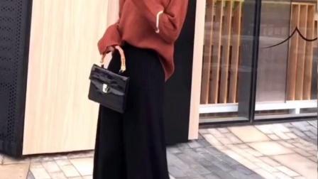 黑色百褶裙半身裙中长版针织裙高腰秋冬半身长裙a字裙摆裙毛线裙