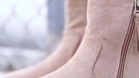 雪地靴女皮毛一体2018新款冬季韩版鞋子学生短筒厚底中筒加绒棉鞋