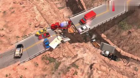 BeamNG动力跑车和超载搅拌卡车冲上高架桥压垮桥梁画面够酸爽