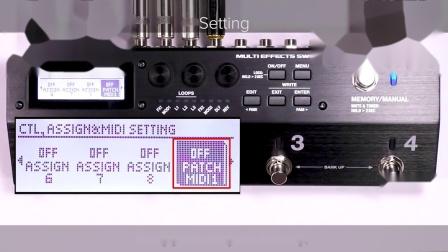 BOSS MS-3多功能效果切换控制器 快速入门 第九章: 切换外接MIDI设备的程序(MIDI PC)