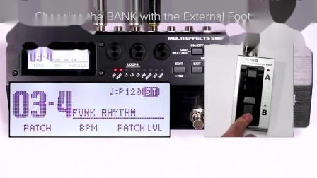 BOSS MS-3多功能效果切换控制器 快速入门 第七章: 使用外部脚踏开关更改BANK(SYSTEM设置)