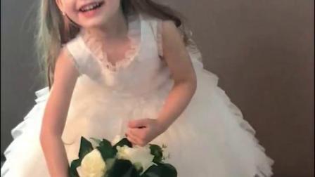 EYAS女童白色礼服公主裙儿童婚纱小花童生日礼服裙主持人表演服夏