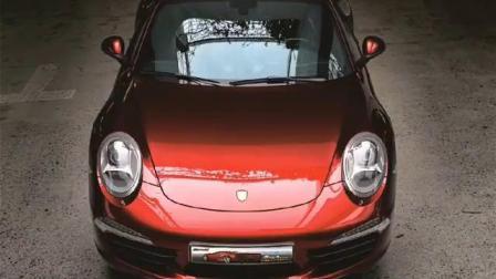 保时捷911全车改色贴膜,耐魔士水晶樱桃红,完美交车!