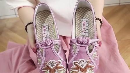君晓天云老北京布鞋女绣花鞋夏平底粉色休闲中年女鞋软底中国风单鞋舞蹈鞋