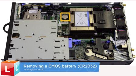 Lenovo ThinkSystem SE350 removing a CMOS battery