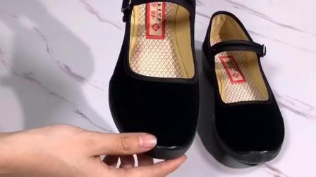 君晓天云新款老北京布鞋女鞋单鞋软底跳舞鞋妈妈鞋厚底工作鞋黑防滑酒店鞋