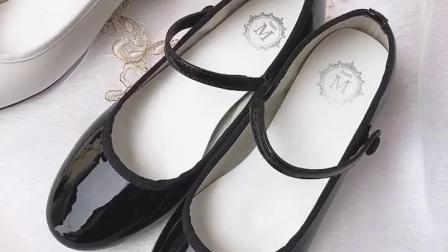 君晓天云小梅家 真皮羊皮 芭蕾舞鞋圆头一字扣经典舒适玛丽珍小红鞋女单鞋