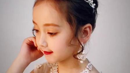 君晓天云女童演出走秀水钻皇冠儿童生日礼物公主头饰项链耳环套组花童髮饰