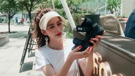 君晓天云厚底凉鞋女鬆糕底2019夏季新款百搭高跟鞋防水台增高楔型凉鞋软底