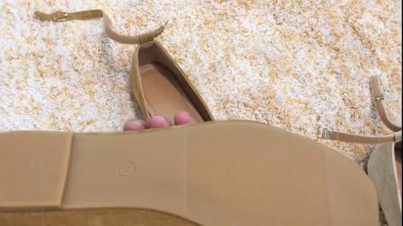 君晓天云Lolita仙女风 花朵设计一字搭扣方头浅口芭蕾舞平底鞋孕妇奶奶甜