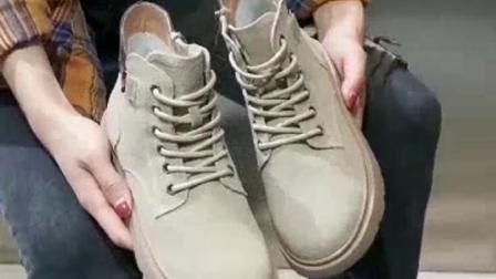 君晓天云IMIV马丁靴女2019秋冬季新款百搭厚底休闲女靴中筒繫带机车靴短靴