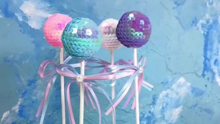 浪漫唯美亮片綵球蝴蝶结生日蛋糕装饰插件派对甜品台闪耀圆球插牌
