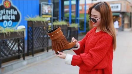 君晓天云靴子女2019新款内增高短靴韩版流苏靴平底雪地靴短筒高筒棉靴潮鞋