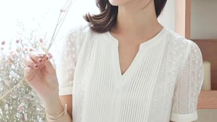 君晓天云刺绣雪纺衫V领蕾丝上衣女短袖夏季2019新款很仙的洋派欧根纱小衫