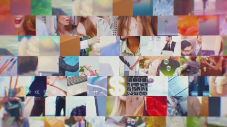 1236 震撼图片网格滑动照片墙图片汇聚logo动画片头AE模板 企业宣传片 视频制作 毕业相册 粒子视频