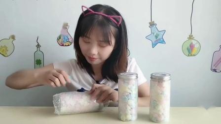"""美食拆箱吃""""蛋白奶酥糖""""缤纷小巧像星星,酥脆爽口好吃"""