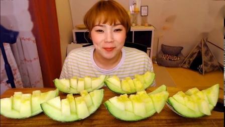 【韩国吃播】挑食的新姐吃炸酱面、糖醋肉;蜜瓜