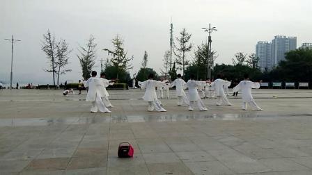 临沂市河东区弘大太极队2019年8月25日龙腾广场表演24式太极拳。
