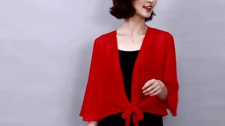 君晓天云披肩夏季时尚洋派雪纺纱外搭批肩短款配裙子的上衣女半袖小衫时尚