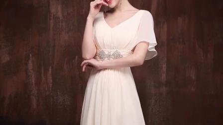 君晓天云胖mm伴娘服大尺码孕妇晚礼服显瘦年会演出洋装主持人礼服女200斤