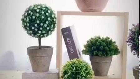 mu 田园家居仿真植物盆栽 绿植假花球小盆景客厅摆设家居装饰品