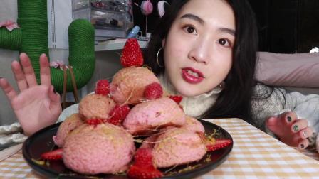 喜提春季,建一座草莓泡芙塔吧~ 美味与颜值并存!巨无霸泡芙 空口吃奶油 - 说话正常 吃饭加速