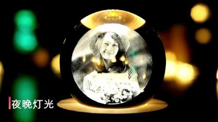 君晓天云旋转发光水晶球音乐盒八音盒女生女孩生日礼物照片diy定製耶诞节