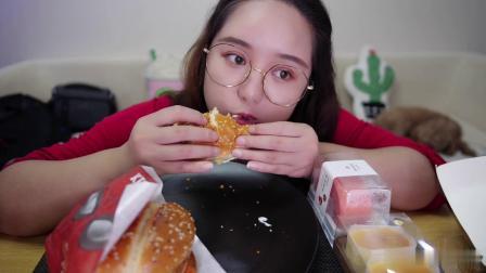 芝士就是热量!芝士酱配汉堡 肯德基 香辣鸡腿堡 双排堡 草莓小蛋糕 半熟芝士 南京 吃播 二又 - 完整版