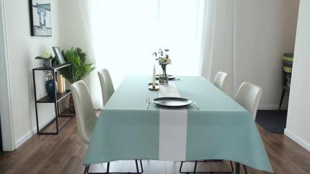君晓天云简约现代纯色长方形桌布防水防油防烫免洗餐桌布艺茶几垫电视柜盖