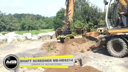 意大利筛分破碎铲斗MB-HDS214配挖机Liebherr 316在德国破碎筛分土壤和石头,进行堆肥