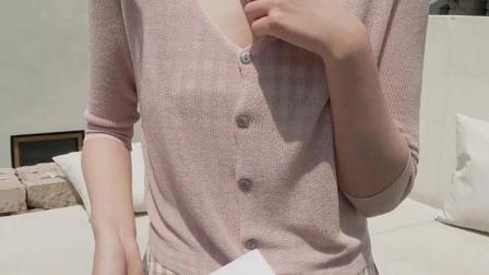 君晓天云夏季空调衫外搭冰丝针织开衫薄款女式夏天外披肩防晒衣短款小外套