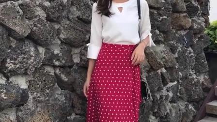 君晓天云一片式红色波点半身裙中长版高腰a字雪纺一块布裙子黑底白点裹裙