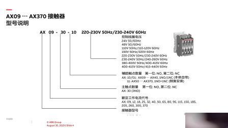 流通类产品介绍 - 交流接触器 AX09 … AX370